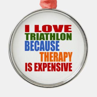 Triathlon Is My Therapy Silver-Colored Round Ornament