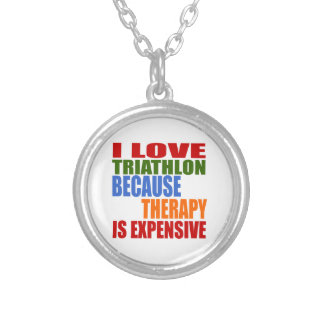 Triathlon Is My Therapy Silver Plated Necklace