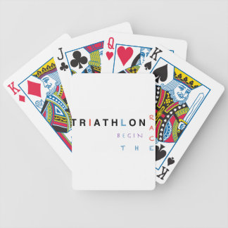 Triathlon let the race begin bicycle playing cards