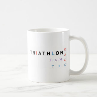 Triathlon let the race begin coffee mug