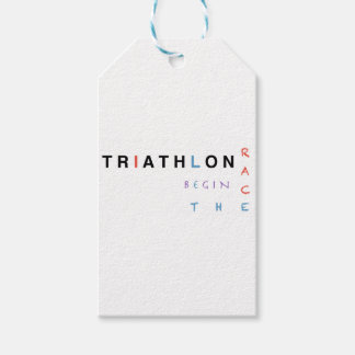 Triathlon let the race begin gift tags
