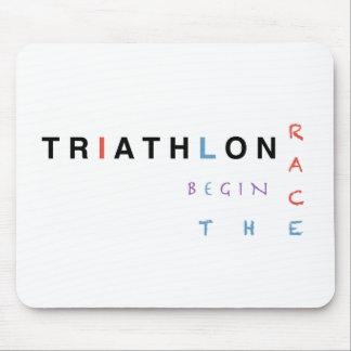 Triathlon let the race begin mouse pad