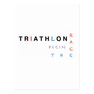 Triathlon let the race begin postcard