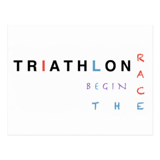 Triathlon let the race begin postcard