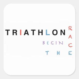 Triathlon let the race begin square sticker