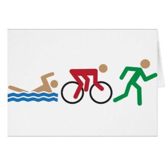 Triathlon logo icons in color card