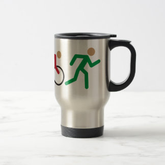 Triathlon logo icons in color stainless steel travel mug