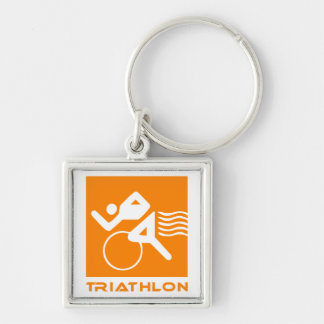 Triathlon orange and white keychain
