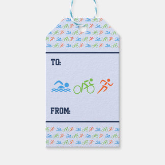 Triathlon pattern sports themed pack of gift tags