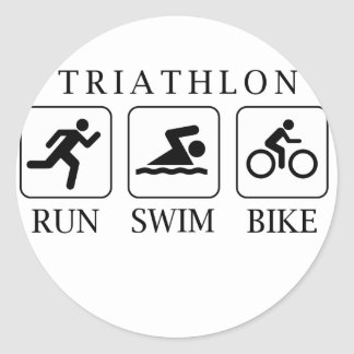Triathlon run, swim and bike classic round sticker