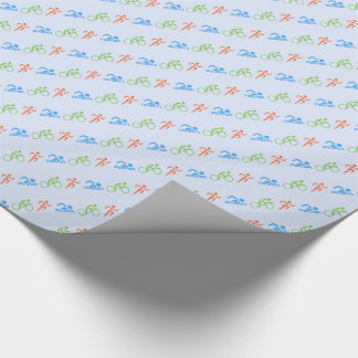 Triathlon sports themed wrapping paper