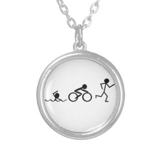 Triathlon Stick Figures Round Pendant Necklace