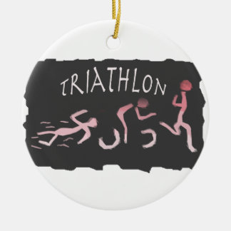 Triathlon Swim Bike Run Abstract in Black Ceramic Ornament