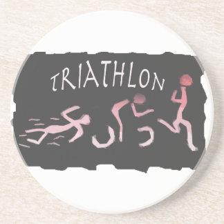 Triathlon Swim Bike Run Abstract in Black Coaster