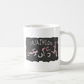 Triathlon Swim Bike Run Abstract in Black Coffee Mug