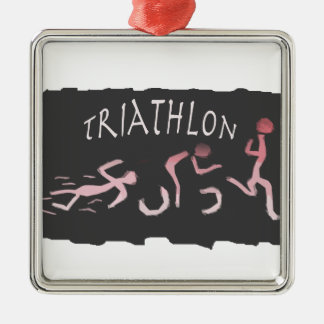 Triathlon Swim Bike Run Abstract in Black Metal Ornament