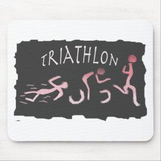 Triathlon Swim Bike Run Abstract in Black Mouse Pad