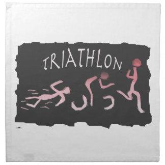 Triathlon Swim Bike Run Abstract in Black Napkin