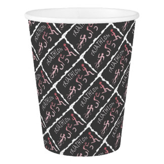 Triathlon Swim Bike Run Abstract in Black Paper Cup