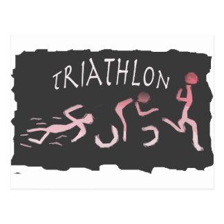 Triathlon Swim Bike Run Abstract in Black Postcard