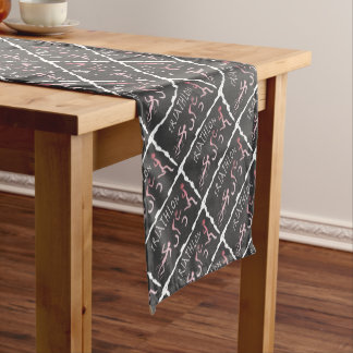 Triathlon Swim Bike Run Abstract in Black Short Table Runner