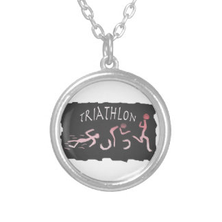 Triathlon Swim Bike Run Abstract in Black Silver Plated Necklace