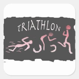 Triathlon Swim Bike Run Abstract in Black Square Sticker