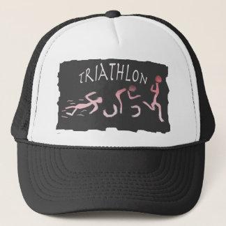 Triathlon Swim Bike Run Abstract in Black Trucker Hat