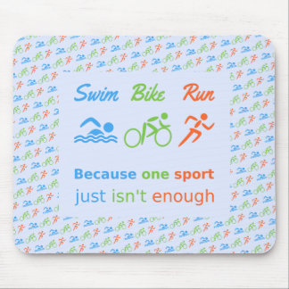 Triathlon swim bike run pictogram quote mouse pad