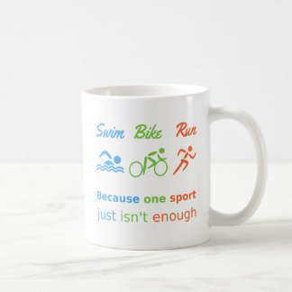 Triathlon swim bike run quote personalized sports coffee mug