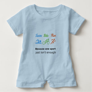 Triathlon swim bike run sports quote baby romper