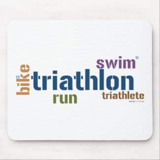 Triathlon Text Mouse Pad