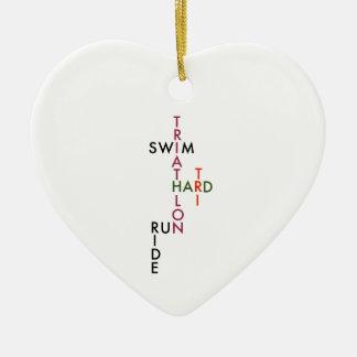 Triathlon tri hard ceramic heart ornament