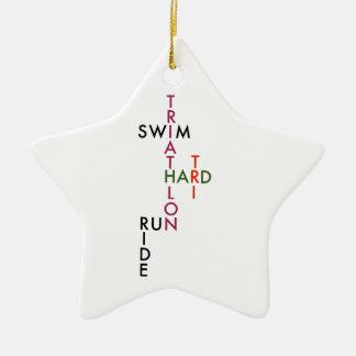 Triathlon tri hard ceramic star ornament
