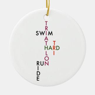 Triathlon tri hard round ceramic ornament