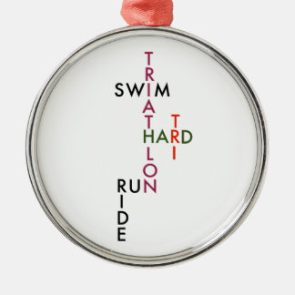 Triathlon tri hard Silver-Colored round ornament