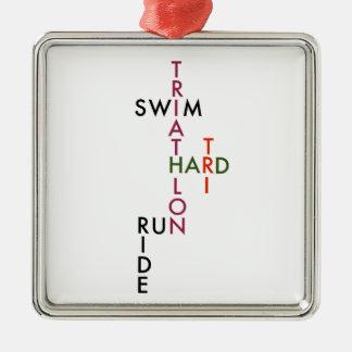 Triathlon tri hard Silver-Colored square ornament