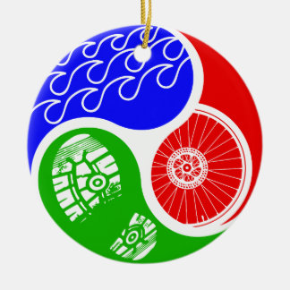Triathlon TRI Yin Yang Ceramic Ornament