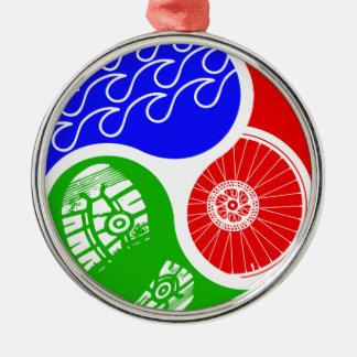 Triathlon TRI Yin Yang Silver-Colored Round Ornament
