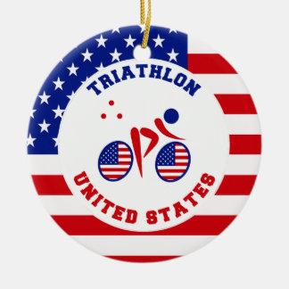 Triathlon United States Round Ceramic Ornament