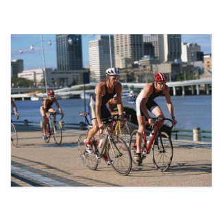 Triathloners Cycling Postcard
