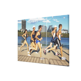 Triathloners Running 2 Gallery Wrapped Canvas