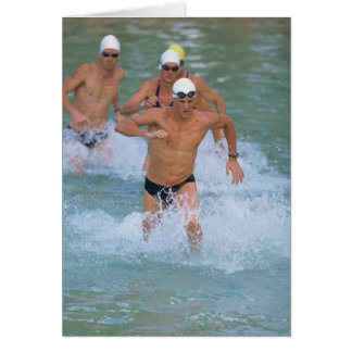 Triathloners Running out of Water 2 Card