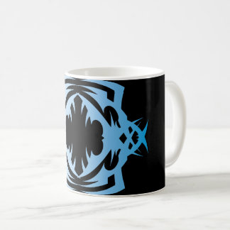 Tribal 16 blue over black coffee mug