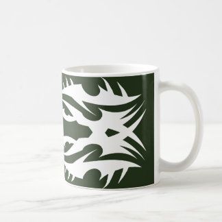 Tribal 17 white to over green coffee mug