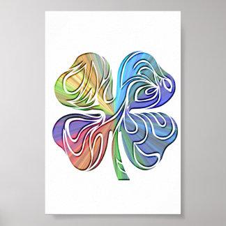 tribal 4 leaf clover symbol poster