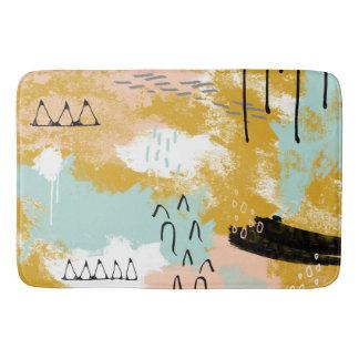 Tribal Abstract Landscape Art Mint Blush Gold Bath Mat