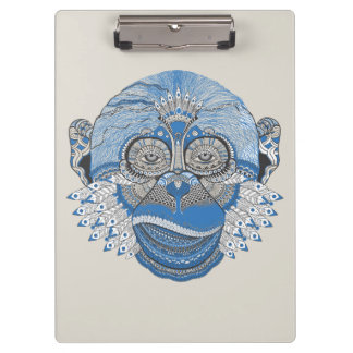 Tribal Abstract Monkey Face Design Clipboard