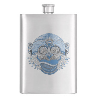 Tribal Abstract Monkey Face Design Hip Flask
