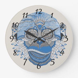 Tribal Abstract Monkey Face Design Large Clock
